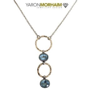 Silver & Gold Oval Blue Topaz Drop Necklace