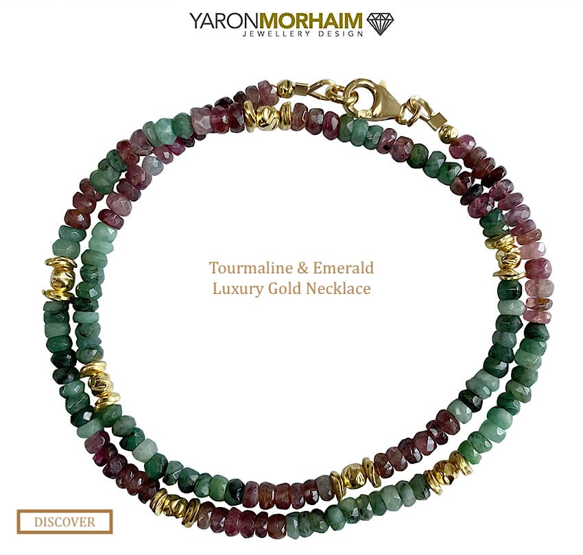 Multi Colour Tourmaline and Emerald Luxury Gold Necklace