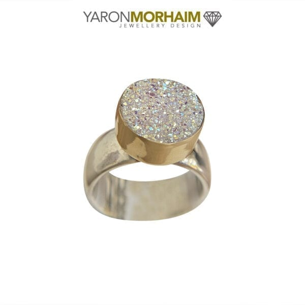 Silver & Gold Druzy Gemstone Ring