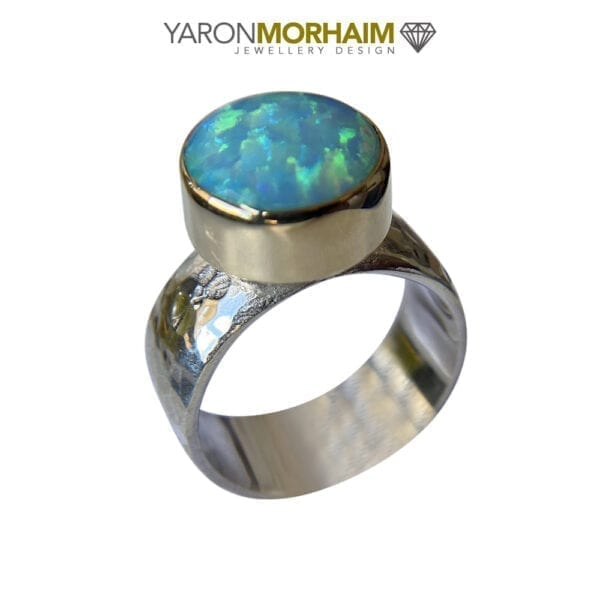 Silver & Gold Hammered Round Opal Ring
