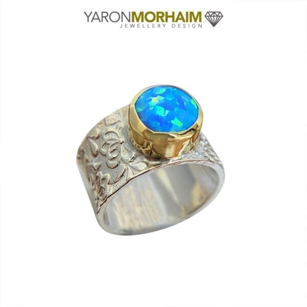 Silver & Gold Flower Motif Opal Ring