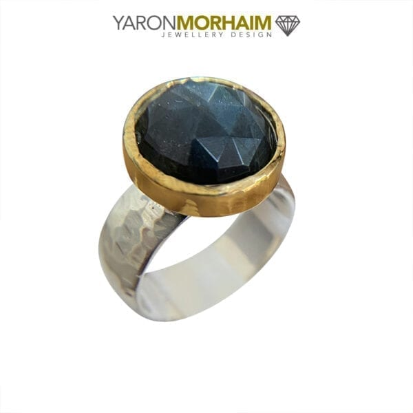 Silver & Gold Faceted Labradorite Ring