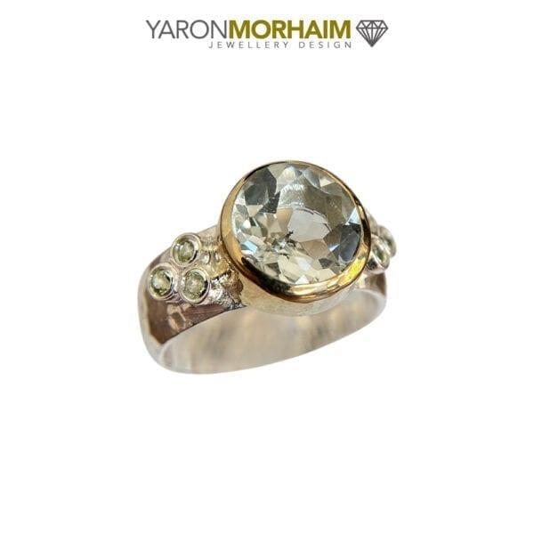 Silver & Gold Ring With Lemon Quartz