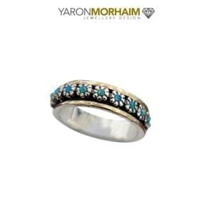Exquisite Silver & Gold fusion Opal Ring