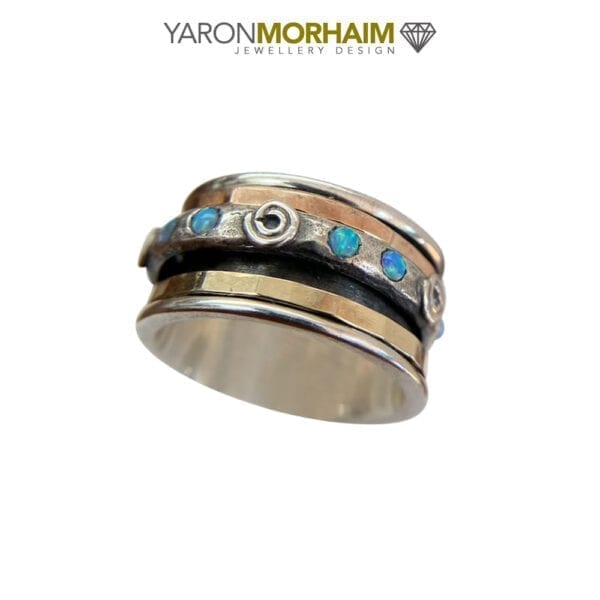 Spinning Silver Gold Ring With Round Opal Gems