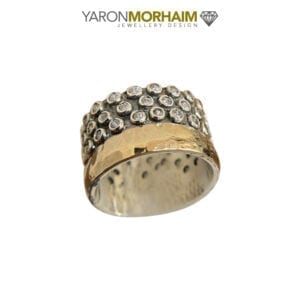 Triple Row Cubic Zirconia Band Ring, Gold/Multi