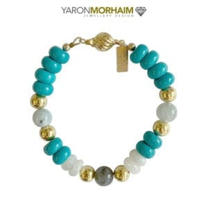 Aquamarine, Turquoise, Moonstone Gold Bracelet