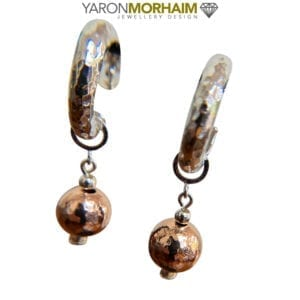 Hammered Silver & Rose Gold Ball Earrings