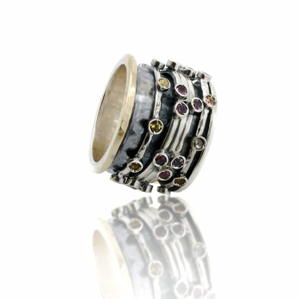 Multi Colour Tourmaline Gems, Silver & Gold Statment Spinning Ring