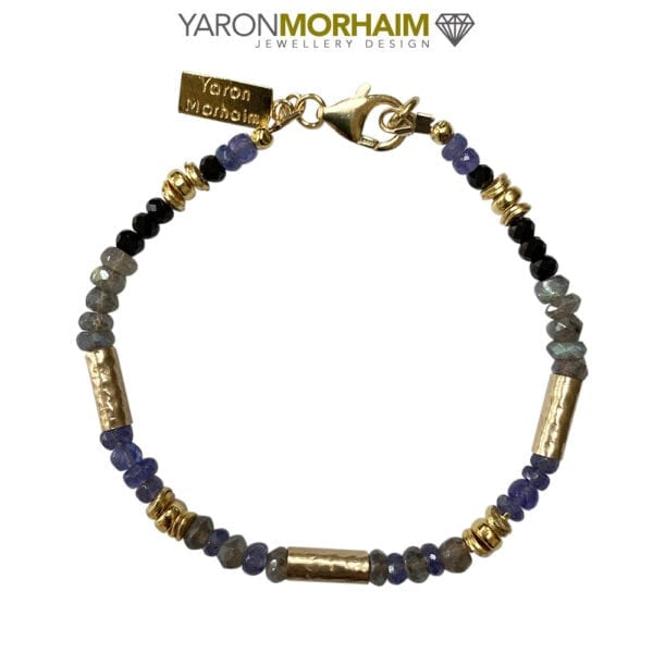 Tanzanite Aquamarine Black Tourmaline Gemstone Gold Bracelet