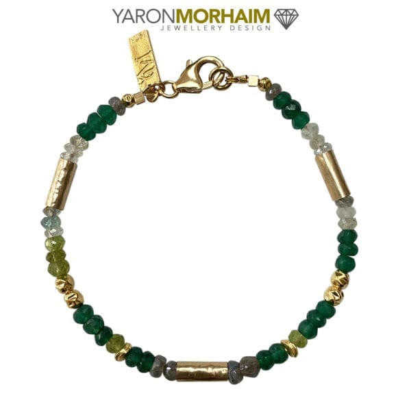 Gold Bracelet With Peridot Labradorite & Aquamarine Gemstones