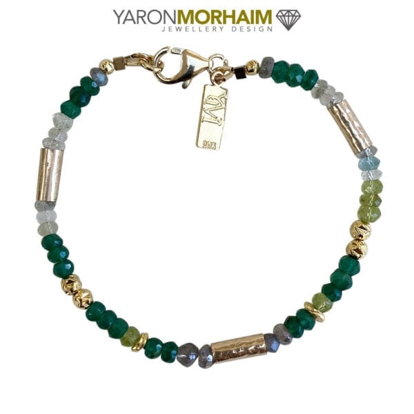 Gold Vermeil Bracelet With Peridot Labradorite & Aquamarine Gemstones