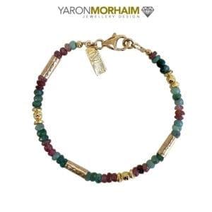 Gold Bracelet Multi Colour Tourmaline & Emerald Gemstones