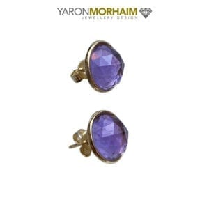 Gold Stud Amethyst Earrings