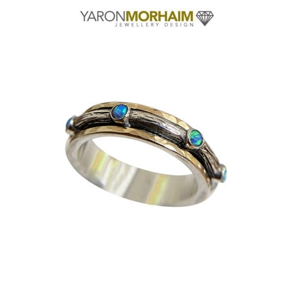 Exquisite Silver & Gold fusion Spinning Opal Ring