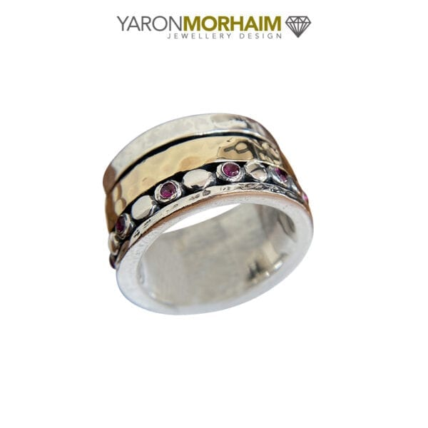 Organic Silver & Gold Spinning Ruby Ring