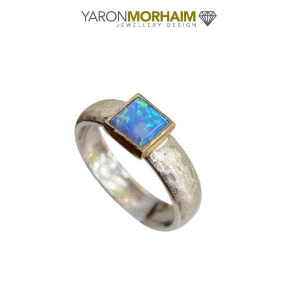 Solitaire Opal Silver & Gold Ring