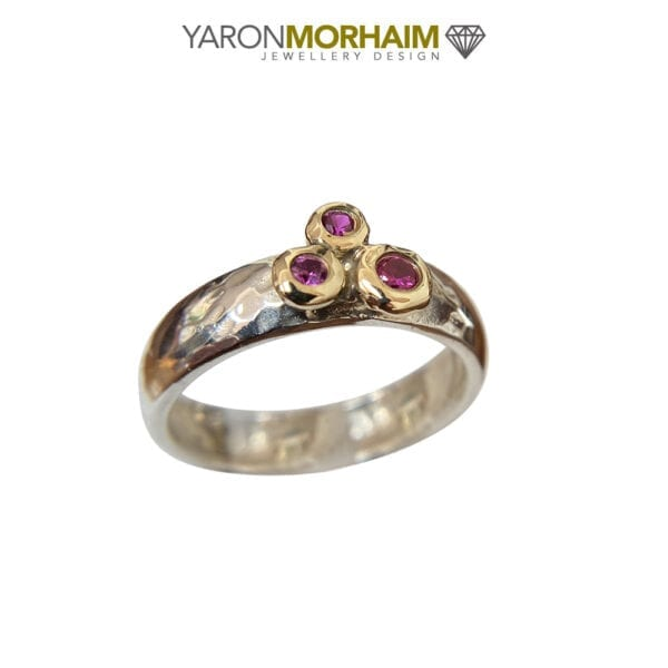 Glamorous Silver & Gold Ruby Ring