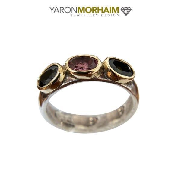 Silver & Gold Multi Colour Tourmaline Gemstone Ring