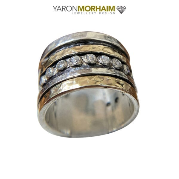 Cubic Zirconia Wide Band Ring, Gold/Multi