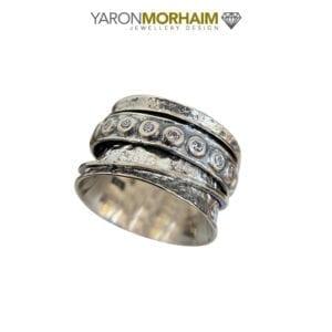 Oxidised Hammered Gemstone Spinning Ring