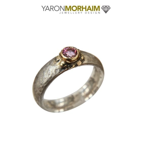 Solitaire Pink Tourmaline Silver & Gold Ring