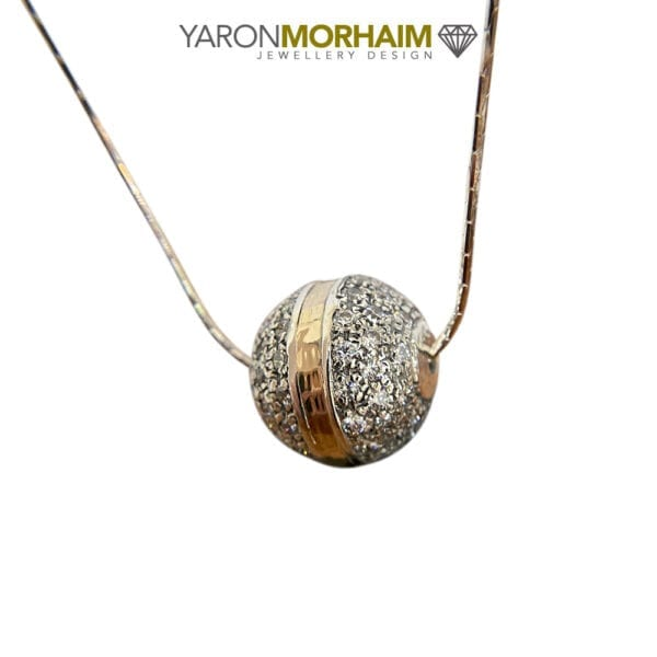 CZ Studded Silver & Gold Sphere Necklace