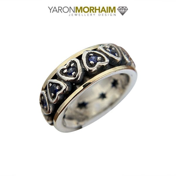 Sapphire Silver & Gold Spinning Ring