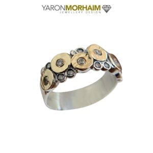 Sterling silver & gold ring with CZ gems