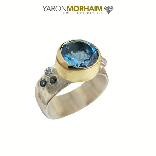 Silver & Gold Swiss Blue Topaz Ring