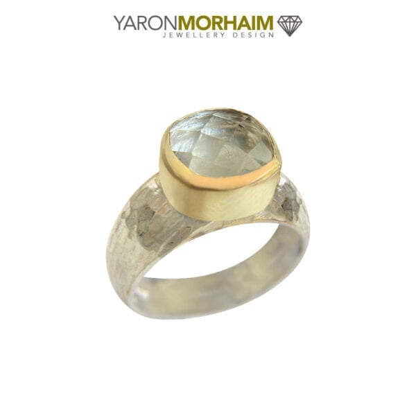 Silver and Gold Green Amethyst Ring