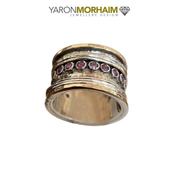 Hammered Silver & Gold Spinning Ruby Ring