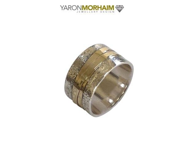 Elegant Silver & Gold Hammered Ring
