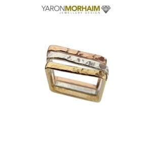 Triple Square Band Stacker Ring, Rose/Yellow gold, Silver